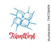 team building concept. stack of ... | Shutterstock .eps vector #744728404