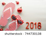 red and white 2018 new year... | Shutterstock . vector #744730138