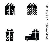 gift icon set | Shutterstock .eps vector #744731134