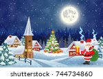a house in a snowy christmas... | Shutterstock .eps vector #744734860