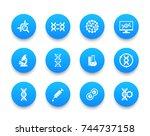 genetics icons set  dna strand  ... | Shutterstock .eps vector #744737158