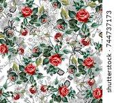 flower pattern | Shutterstock . vector #744737173
