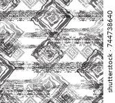 seamless pattern ethnic design. ... | Shutterstock . vector #744738640