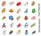 fiscal icons set. isometric set ... | Shutterstock . vector #744739378