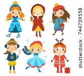 cute winter girls set. kids... | Shutterstock .eps vector #744739558