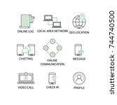 modern flat thin line icon set... | Shutterstock .eps vector #744740500