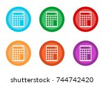 set of rounded colorful buttons ... | Shutterstock . vector #744742420