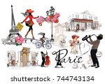 set of paris illustrations with ... | Shutterstock .eps vector #744743134