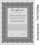 grey classic certificate... | Shutterstock .eps vector #744743986