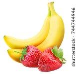 set of fruit isolated on white...   Shutterstock . vector #744744946