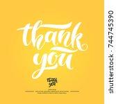 thank you. modern hand drawn... | Shutterstock .eps vector #744745390