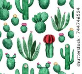 pattern with cactus. watercolor ... | Shutterstock . vector #744746524