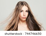 perfect model woman with... | Shutterstock . vector #744746650