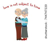 happy grandparents embrace.... | Shutterstock .eps vector #744747220
