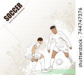 hand drawn soccer player. sport ... | Shutterstock .eps vector #744747376