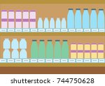 supermarket shelves with dairy... | Shutterstock .eps vector #744750628