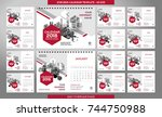 desk calendar 2018 template  ... | Shutterstock .eps vector #744750988