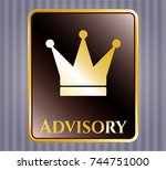 gold shiny badge with crown... | Shutterstock .eps vector #744751000