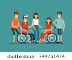 group of happy young people... | Shutterstock .eps vector #744751474