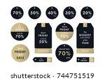 black friday price golden... | Shutterstock .eps vector #744751519