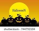 halloween. silhouette of a... | Shutterstock .eps vector #744752104