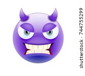 angry devil emoticon with grey... | Shutterstock .eps vector #744755299