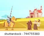 medieval life scene with... | Shutterstock .eps vector #744755383