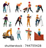 set of construction workers in...