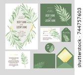 set of templates  for wedding... | Shutterstock .eps vector #744757603