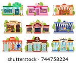 bright colorful facades of six... | Shutterstock .eps vector #744758224