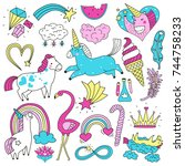 colorful bright doodle set of...