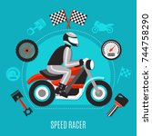 speed racer design concept with ... | Shutterstock .eps vector #744758290