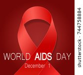 world aids day symbol ... | Shutterstock .eps vector #744758884