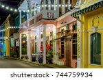 small street in old town in... | Shutterstock . vector #744759934