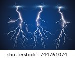 set of lightnings. thunder... | Shutterstock .eps vector #744761074