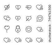 premium set of heart line icons.... | Shutterstock .eps vector #744761500