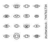 premium set of eye line icons.... | Shutterstock .eps vector #744761734