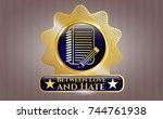 golden badge with notebook... | Shutterstock .eps vector #744761938