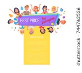 best price and sales for... | Shutterstock .eps vector #744762526