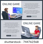 online gaming web posters set... | Shutterstock .eps vector #744762568