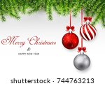 merry christmas and happy new... | Shutterstock . vector #744763213