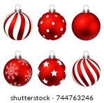 red christmas balls on gift... | Shutterstock . vector #744763246