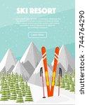 ski equipment  swiss alps  fir... | Shutterstock .eps vector #744764290