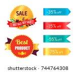 best products sale labels set... | Shutterstock .eps vector #744764308