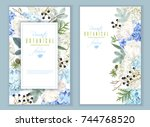 vector floral banners with blue ... | Shutterstock .eps vector #744768520