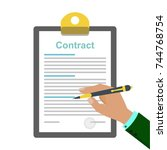 the idea of signing a contract. ... | Shutterstock .eps vector #744768754