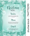 christmas menu with snowflake... | Shutterstock .eps vector #744770290