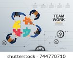 business meeting and...   Shutterstock .eps vector #744770710