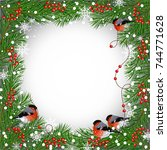 winter frame with bullfinches ... | Shutterstock .eps vector #744771628