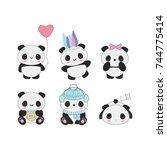 set of 6 cute kawaii panda... | Shutterstock .eps vector #744775414